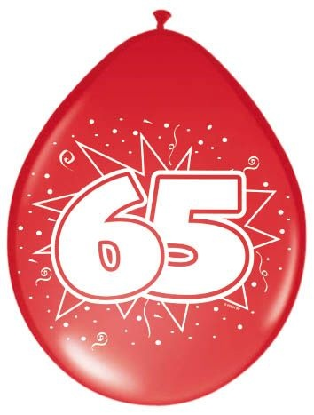 Amigo Ballonnen ster 30 cm: 65 jaar 8 stuks