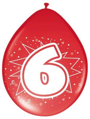 Amigo Ballonnen ster 30 cm: 6 jaar 8 stuks