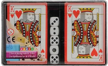 Amigo Speelkaarten 2 sets met 5 dobbelstenen