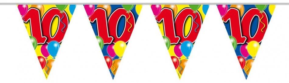 Vlaggenlijn balloons 10 jaar 10-stk