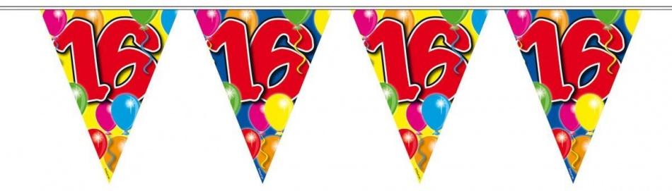 Vlaggenlijn balloons 16 jaar 10-stk