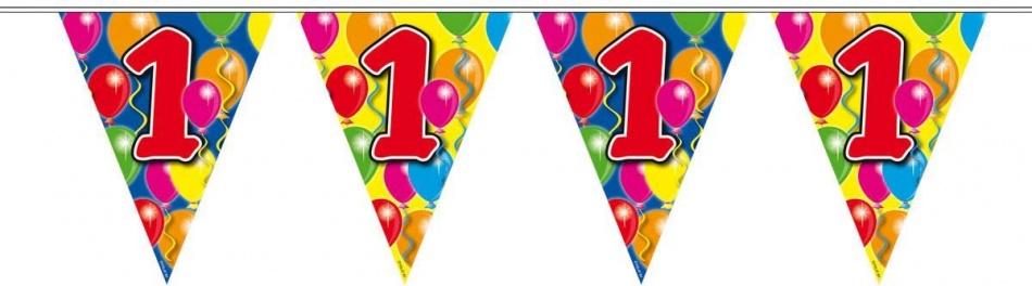 Vlaggenlijn balloons 1 jaar 10m-stk
