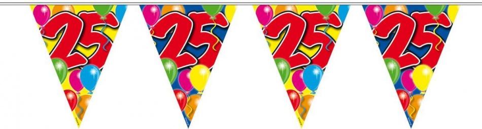Vlaggenlijn balloons 25 jaar 10-stk