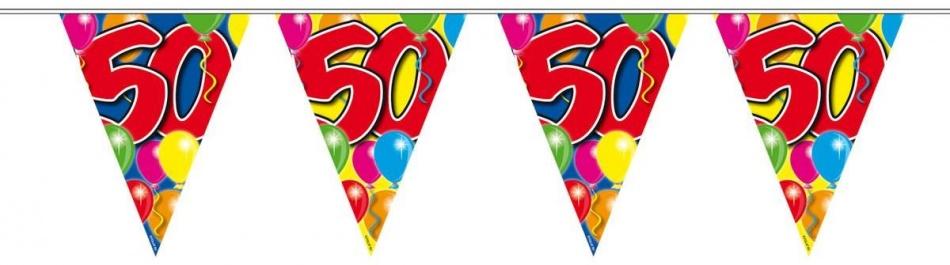 Vlaggenlijn balloons 50 jaar 10-stk