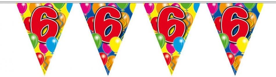 Vlaggenlijn balloons 6 jaar 10m-stk