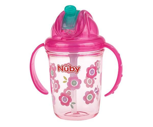 Nuby Flip It Antilekbeker tritan 240ml 12m+ roze