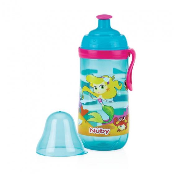 Nuby Sportieve Pop Up drinkbeker 360ml lichtblauw 18m+
