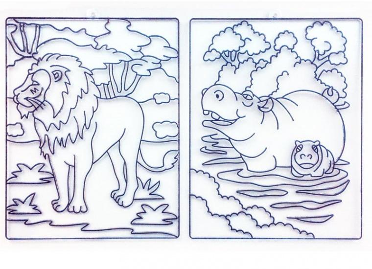 Orange Elephant 2 suncatchers maat L: Leeuw en Nijlpaardfamilie