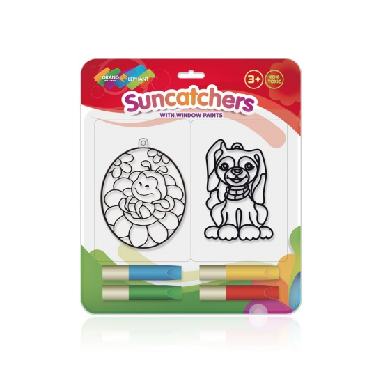 Orange Elephant Raamstickerverf met Suncatchers M hond/bij