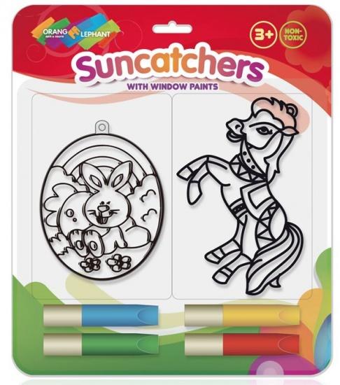 Orange Elephant Raamstickerverf met Suncatchers M paard/konijn