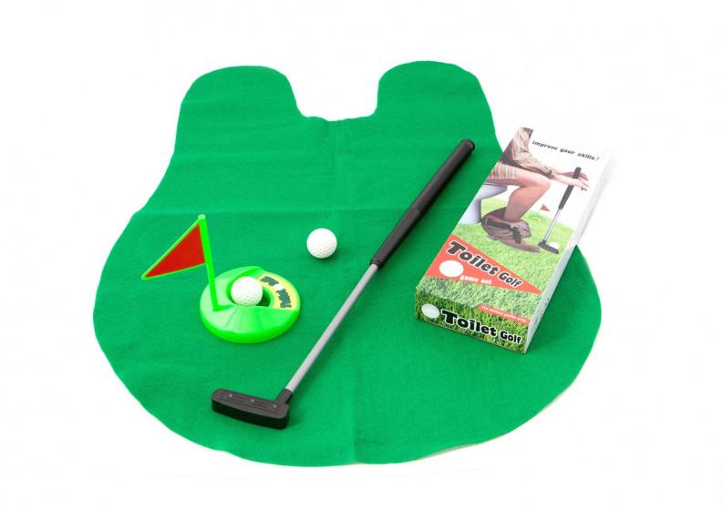 Out of the Blue toiletspel Golf 90 x 71 cm vilt/staal groen 6 delig