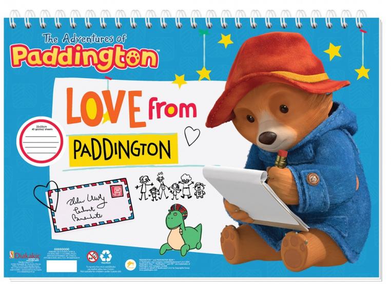 Paddington kleurblok met stickers junior 33 cm papier blauw