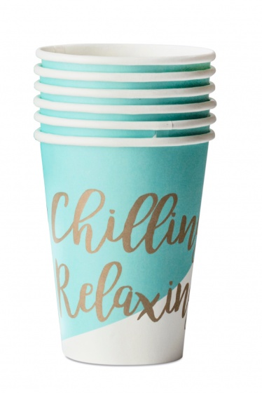 Party Stars feestbekers Chilling Relaxing 25 cl blauw/wit 6 stuks