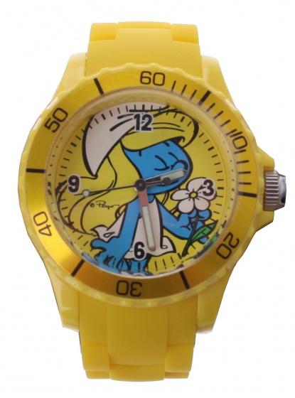 PB horloge Smurfen outdoor geel 4 cm