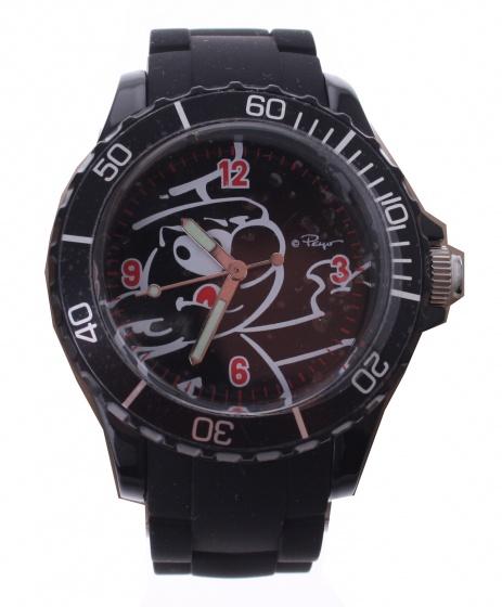 PB horloge Smurfen outdoor zwart 4 cm