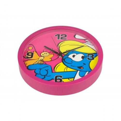 PB wandklok Smurfen roze 25 cm