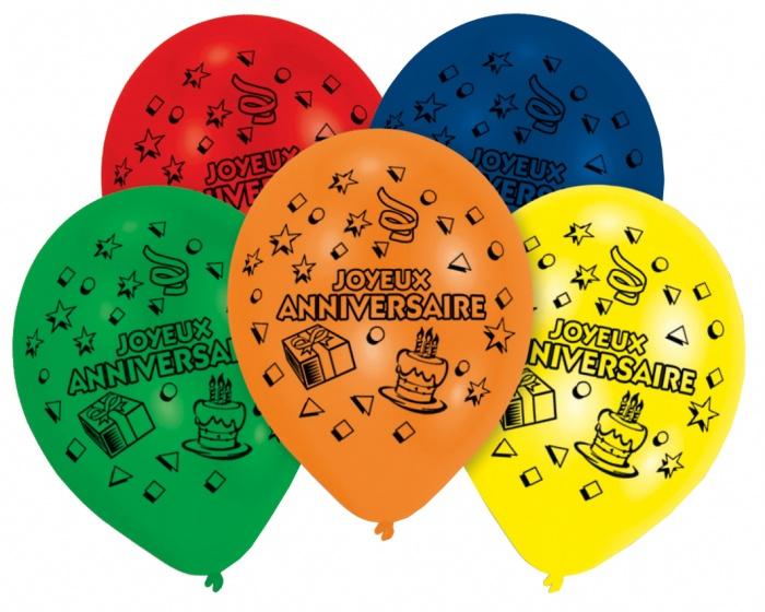 Pegaso ballonnen joyeux anniversaire 8 stuks 25 cm