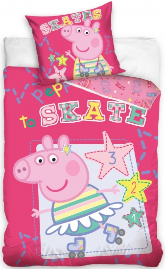 Peppa Pig dekbedovertrek skate roze: 140 x 200 cm
