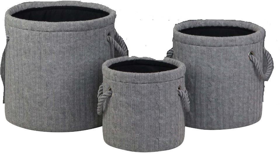 Pericles opbergmandenset gebreid Large 3 delig grijs
