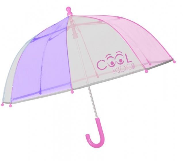 Perletti paraplu Cool Kids 64/60 cm junior transparant/roze