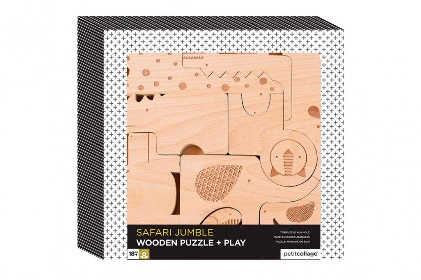 Petit Collage houten speelgoed puzzel & spel safaridieren