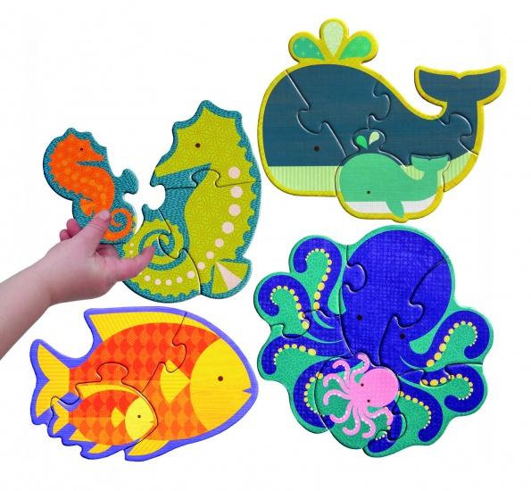 Petit Collage Mijn Eerste Puzzel Zeedieren 3 6 Stukjes