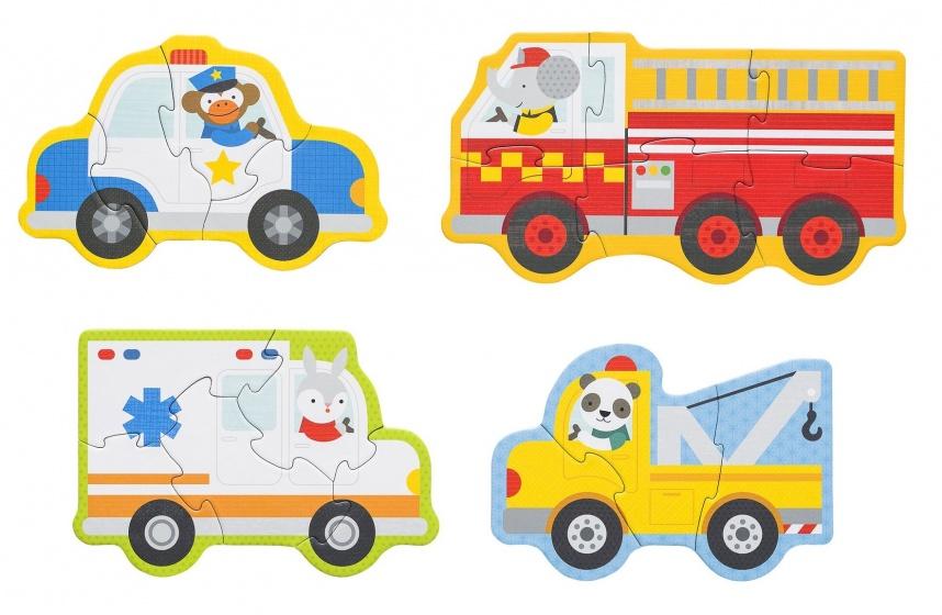 Petit Collage mijn eerste puzzels: reddingswagens 4 puzzels