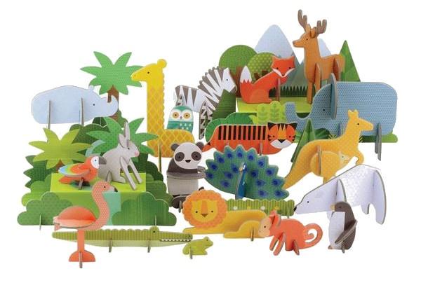 Petit Collage pop out deluxe 3D dieren van de wereld 78 delig