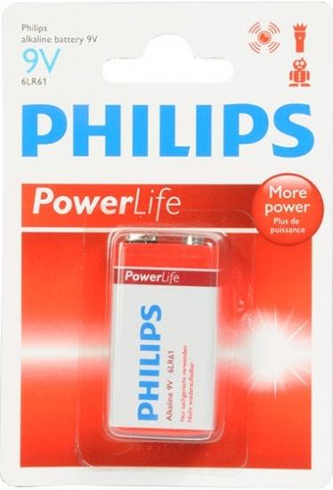 Philips PowerLife Alkaline 9 Volt batterij