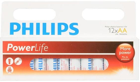 Philips PowerLife Alkaline AA batterijen 12 stuks