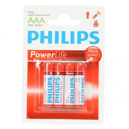 Philips PowerLife Alkaline AAA batterijen: 4 stuks