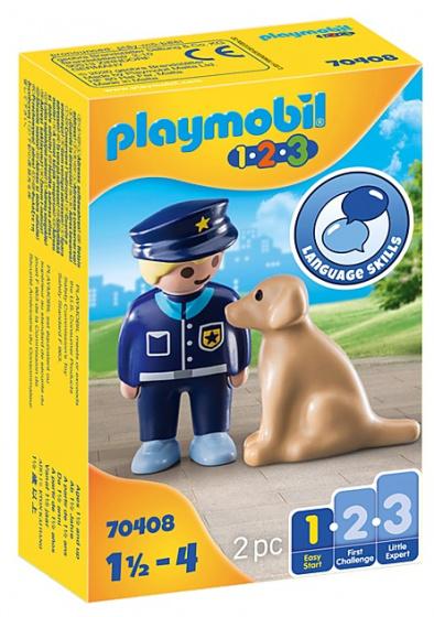 PLAYMOBIL 1,2,3 Politieman met hond
