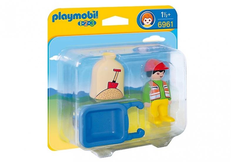 PLAYMOBIL 1, 2, 3: Arbeider met kruiwagen (6961)