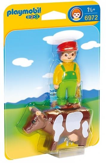 PLAYMOBIL 1, 2, 3: Boer met koe (6972)