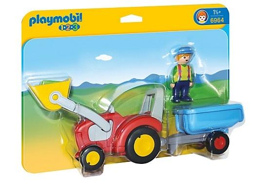 PLAYMOBIL 1, 2, 3: Boer met tractor en aanhangwagen (6964)