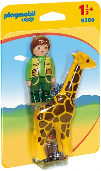 Playmobil 1.2.3 Dierenverzorger met giraffe - 9380