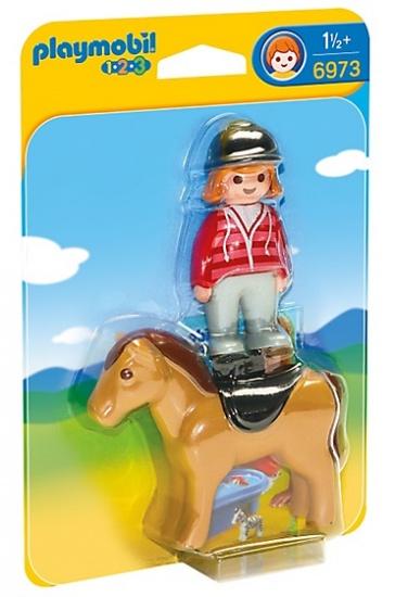 PLAYMOBIL 1, 2, 3: Ruiter met paard (6973)