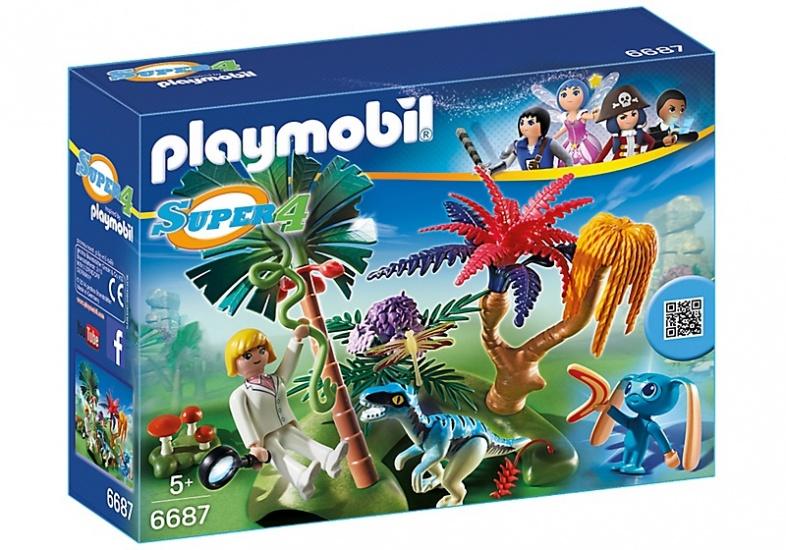 PLAYMOBIL Super 4: Verlaten wereld met Alien en Raptor (6687)
