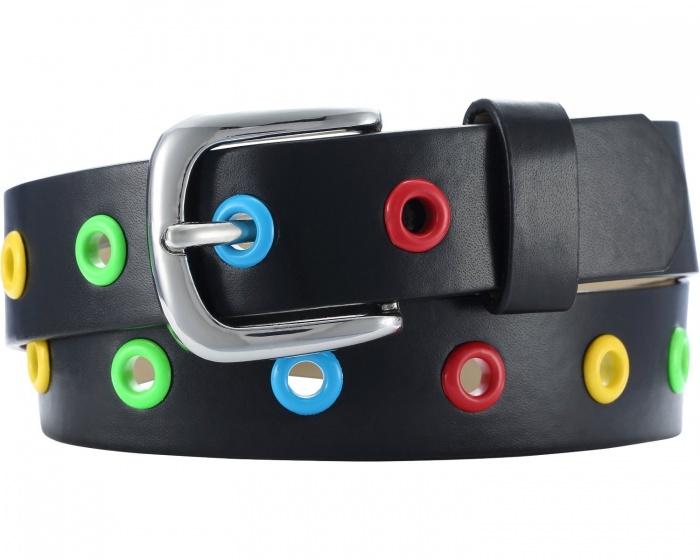 Playshoes riem leder met kleuren junior zwart maat 75 cm