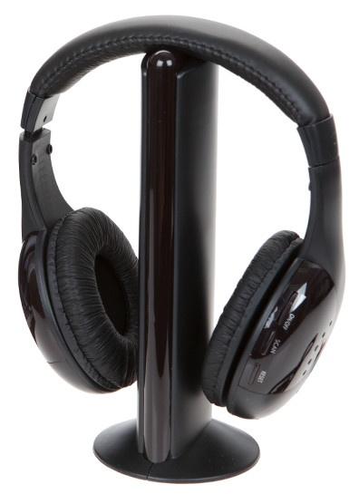 PMS draadloze koptelefoon met radio zwart