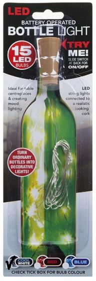 PMS led lichtsnoer met kurk 15 led lampjes wit