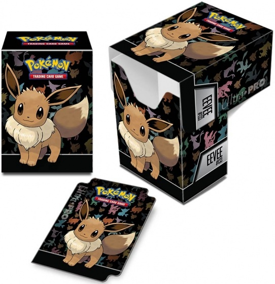 Pokémon deckbox Eevee junior 2 delig zwart 10 x 7,5 x 5 cm