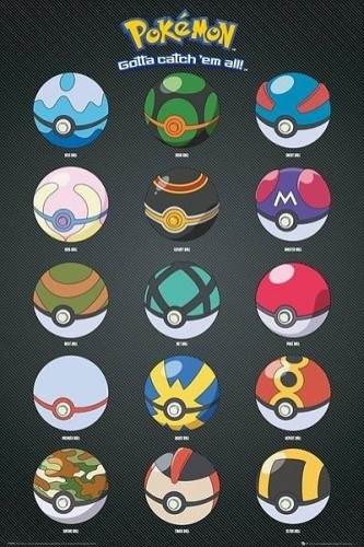 Pokémon Poster: Pokeballs 61 x 92 cm