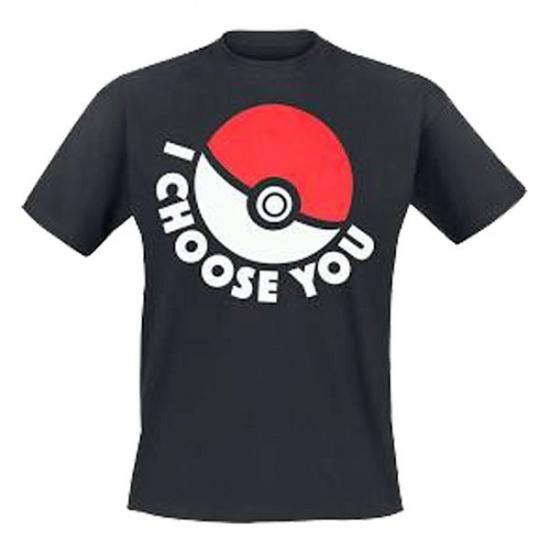 Pokémon T shirt I Choose You Unisex Zwart Maat XL