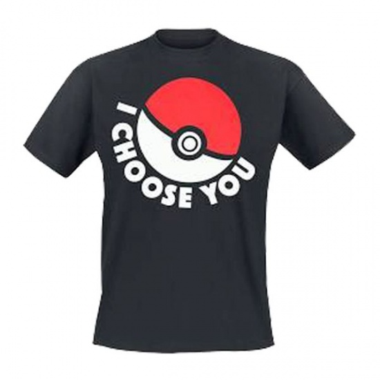 Pokémon T shirt I Choose You Unisex Zwart Maat M