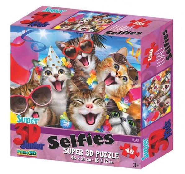 Prime 3D puzzel kattenselfie 48 stukjes