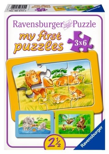Ravensburger Puzzel Aap Olifant en Leeuw 3 X 6 Stukjes