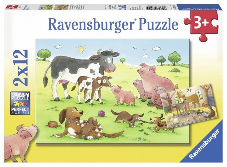 Ravensburger Puzzel Gelukkige dierenfamilies: 2x12 stukjes