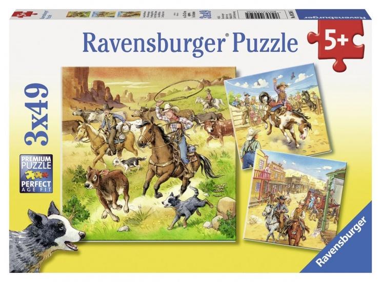 Ravensburger Puzzel In het Wilde Westen: 3x49 stukjes