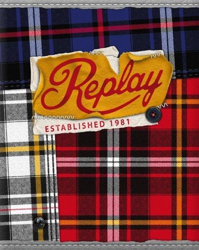 Replay Schrift A5 Lijn Check Rood